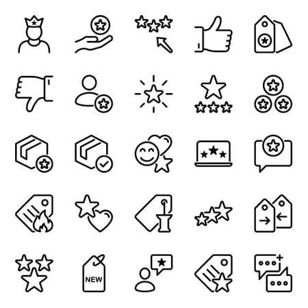 Outline icons for loyalty. Vektoros illusztráció