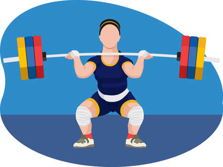 Female weightlifter Vector Illustration