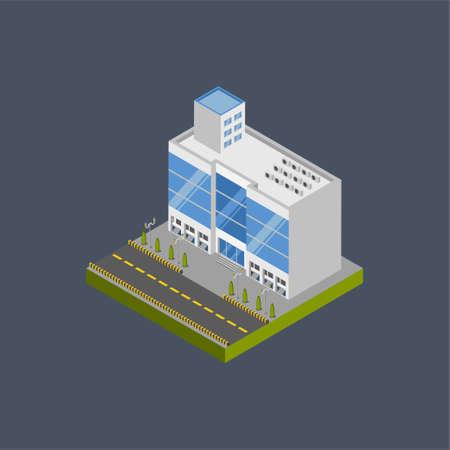 Shopping center building - 3d isometric.