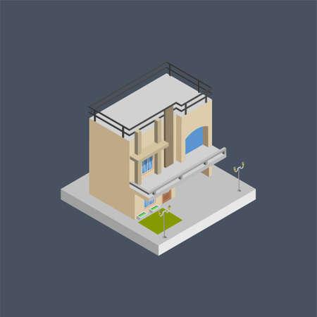 House building - 3d isometric. Иллюстрация