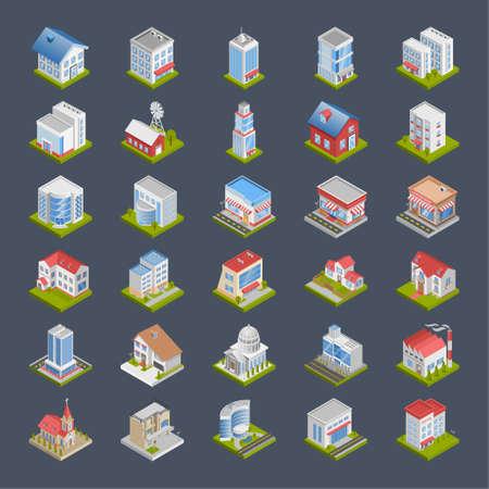 Buildings 3d isometric,