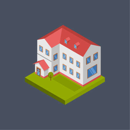 Collage building - 3d isometric.