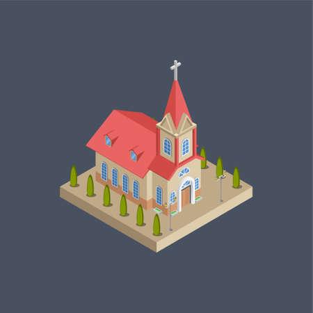 Church building - 3d isometric.