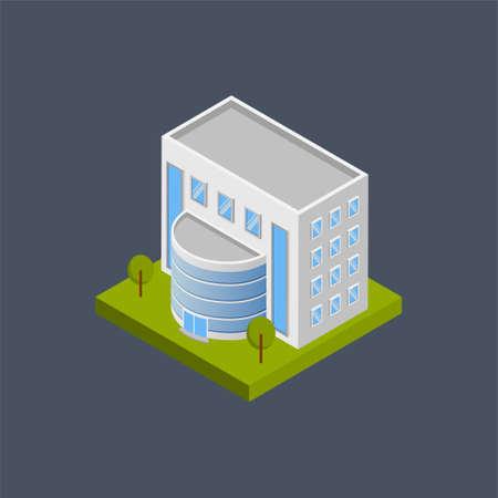 Showroom building - 3d isometric. Иллюстрация