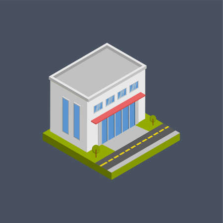 Shopping mall building - 3d isometric.