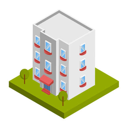 Hotel building - 3d isometric.