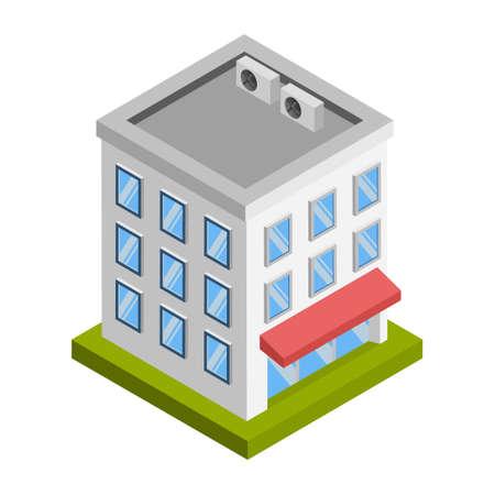 Market building - 3d isometric.