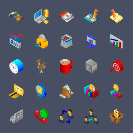 Isometric 3d icons for business. Иллюстрация
