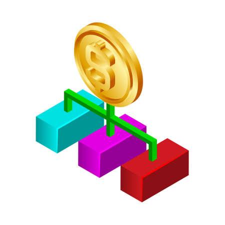 Money hierarchy - Isometric 3d illustration.