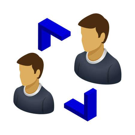 User transfer - Isometric 3d illustration. Иллюстрация