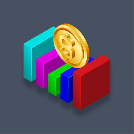 Financial graph - Isometric 3d illustration.