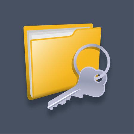 Folder key - Isometric 3d illustration.