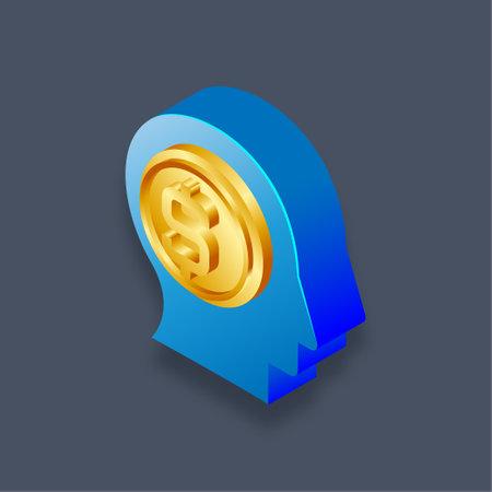 Money mind - Isometric 3d illustration.