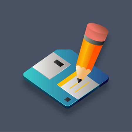 Floppy disk - Isometric 3d illustration.
