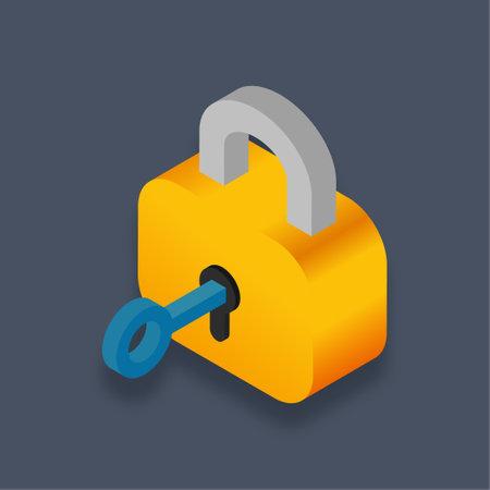 Lock - Isometric 3d illustration.