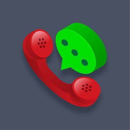 Call - Isometric 3d illustration.