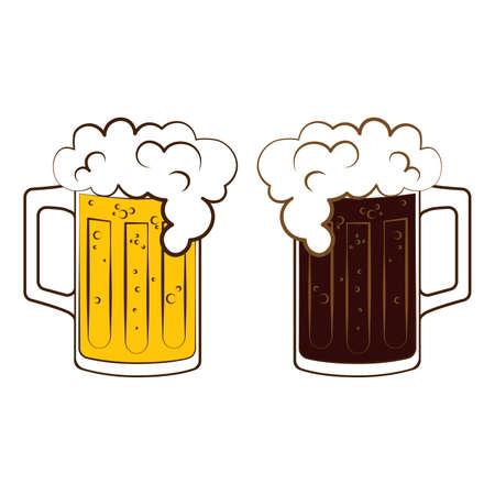 Mugs with lager and dark beer poster prost for oktoberfest on white background Vektoros illusztráció