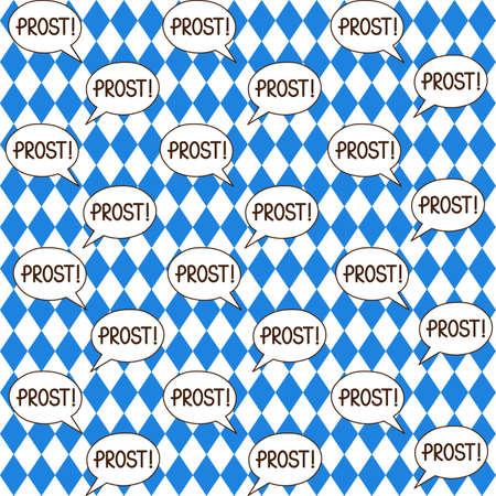 Oktoberfest vector seamless pattern with prost bubble speech on rhomb background Vektoros illusztráció
