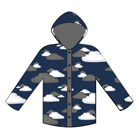 Raincoat vector flat illustration in colorful pattern with clouds on dark blue background. Flat icon of rain closing on white background