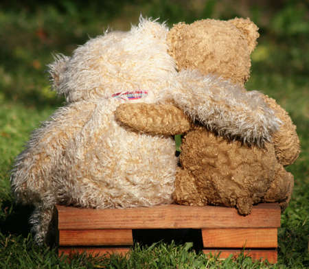 two teddy bears on a bench with arms around each other photo