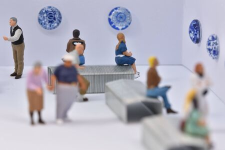 toy scale 1:87 figures in an art gallery