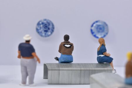 large scale people in a museum Stock Photo