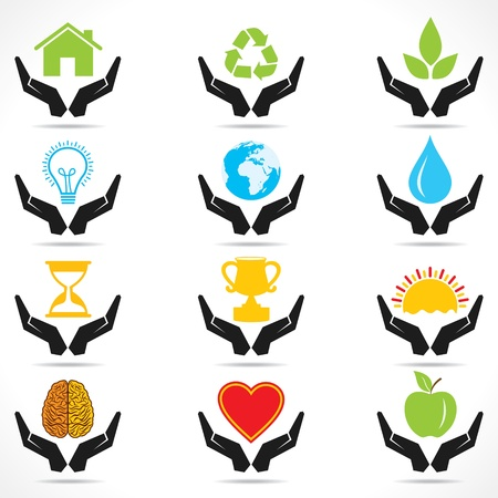 leaf water drop: conceptual hand icon with differnt object icons