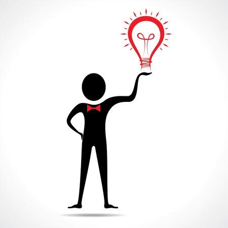 Man holding a bulb -haveing an idea vector