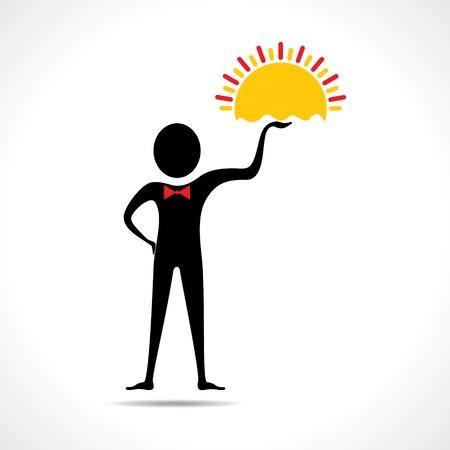 Man holding sun icon vector Stock Vector - 20645113