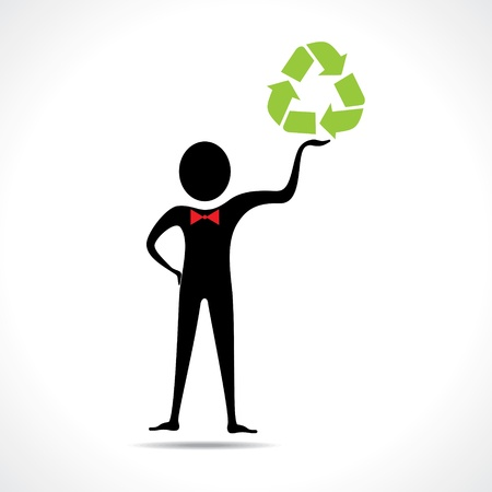 Man holding a recycle icon vector Stock Vector - 20645098