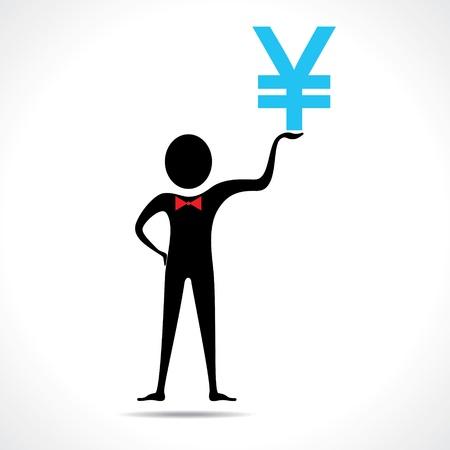 Man holding yen symbol vector Stock Vector - 20645089