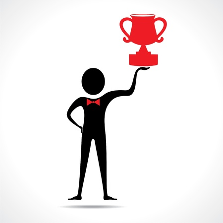 Man holding a trophy vector Stock Vector - 20645105