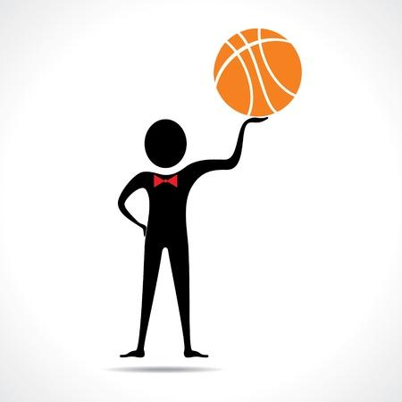 Man holding a basketball vector Stock Vector - 20645101