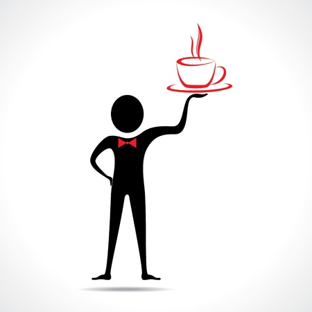 Man holding a coffee mug icon vector  Vector