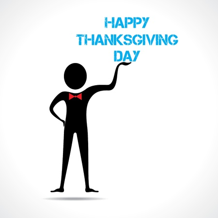 Man holding happy thanksgiving day text vector  Vector