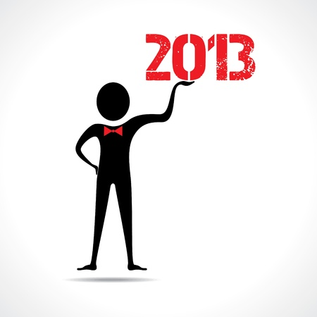 Man holding 2013 text Vector