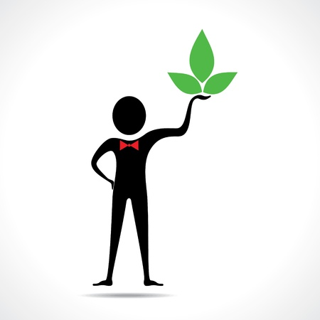 Man holding a leaf icon vector Vector