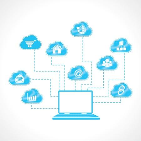 contemporaneous: computer portatile con l'icona di business disegnato a mano Vettoriali