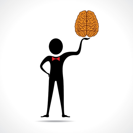 Man holding brain icon vector Stock Vector - 20645120