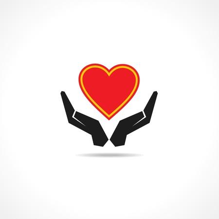 Hand protectinga heart icon vector