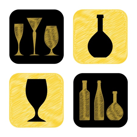 ferment: hand drawn wine glass and bottle icon collection Illustration