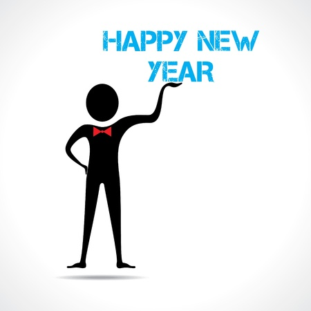 Man holding happy new year text Stock Vector - 20645161