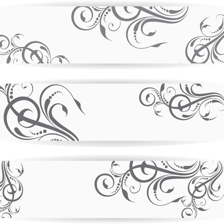 chinese scroll:  Website header or banner set with beautiful floral design