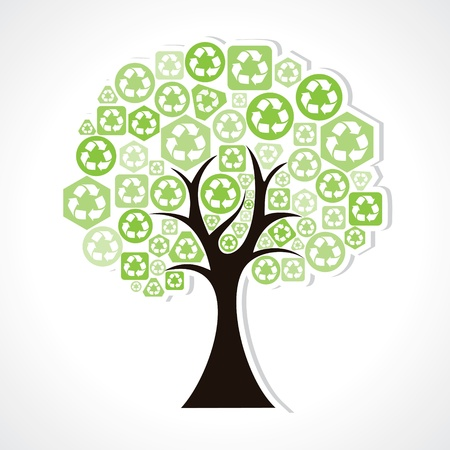 recycle tree: tree forming by green recycle icons