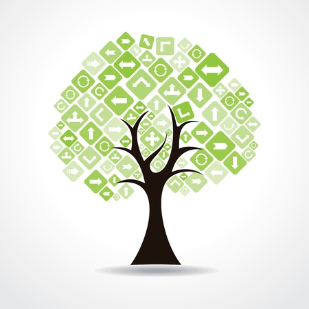 tree with green arrow icons vector Stock Vector - 20645138