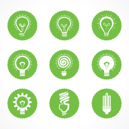 green construction: Set of electric bulb symbols and icons Illustration