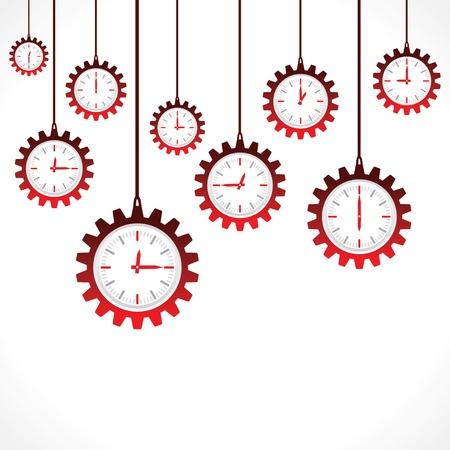 Hanging gear shape red clocks Stock Vector - 20645158