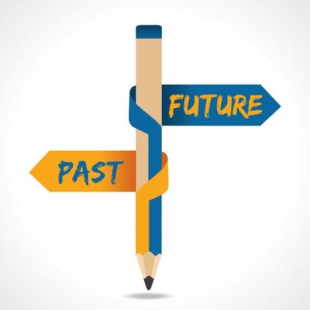 過去の未来の矢印の鉛筆の反対