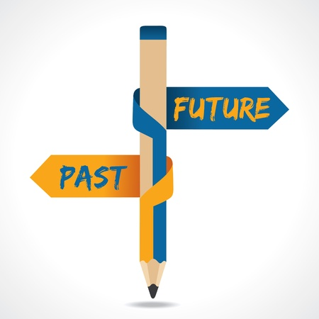 communication metaphor: PAST   FUTURE arrow in opposite of pencil