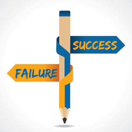 indefinite: Success   Failure arrow in opposite directions of pencil Illustration